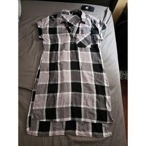 Rock & Republic Plaid Rolled Sleeve Shirt Dress